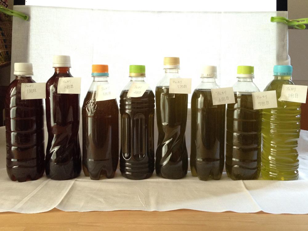 日本茶(緑茶)染め:強アルカリで色素抽出を試す